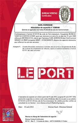 Attestation le port
