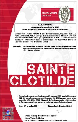 Attestation sainte clotilde